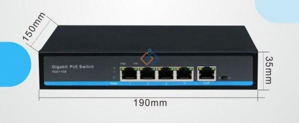 Bộ chuyển đổi mạch Switch POE 4 cổng Hasivo S600P- 4G- 1G